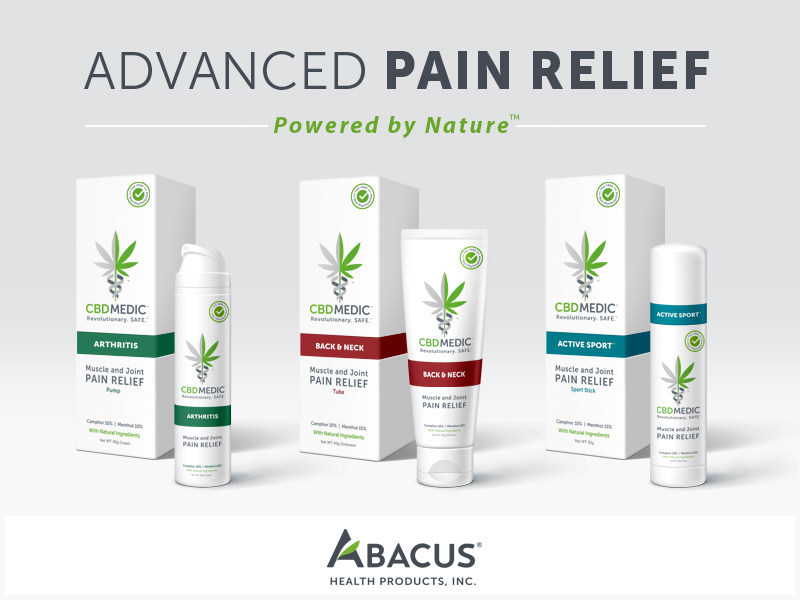 Abacus Health Products CBDMEDIC™ line of topical pain-relief products (CNW Group/Abacus Health Products)