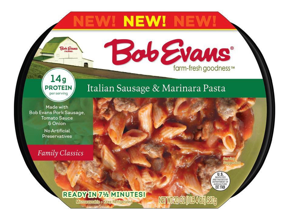 The new Bob Evans Italian Sausage Marinara Pasta has 11 grams of protein per serving.