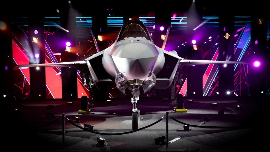 The Netherlands first operational F-35 on display during a ceremony at Lockheed Martin's F-35 production facility in Fort Worth, Texas.