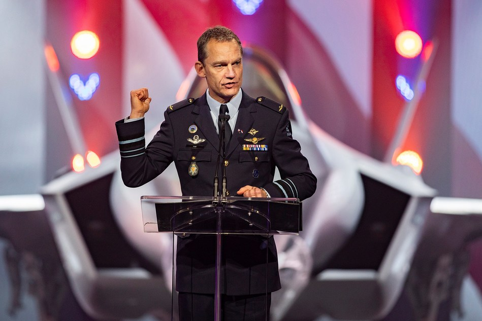 """Check the horizon. The future starts here,"" Lt. Gen. Dennis Luyt, Commander of the Royal Netherland Air Force, told guests at a ceremony for the Netherlands' first operational F-35. The ceremony was held at Lockheed Martin's F-35 production facility in Fort Worth, Texas."