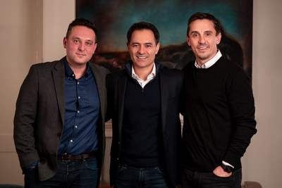 Gary Neville (far right), with business partner Scott Melvin (far left), pictured alongside reach4entertainment boss Marc Boyan (centre)