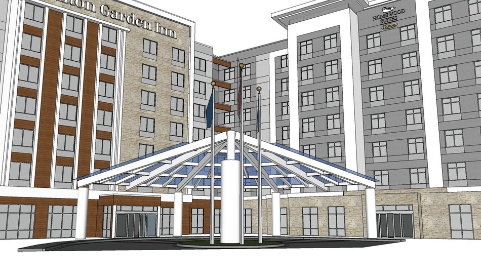 Rendering of 240-key Homewood Suites and Hilton Garden Inn to be built in Easton, Ohio.
