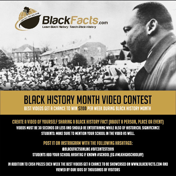 The rules for the Instagram Video Contest are easy. Create a video. Post on Instagram with hashtag: #BFContest2019 @blackfactsonline. Chance to win $200 weekly.