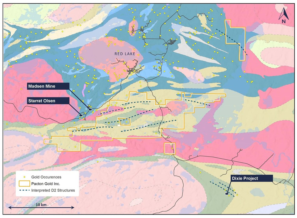 Figure 2. Geology map with D2 structures and Pacton Claims in Red Lake, Ontario (CNW Group/Pacton Gold Inc.)