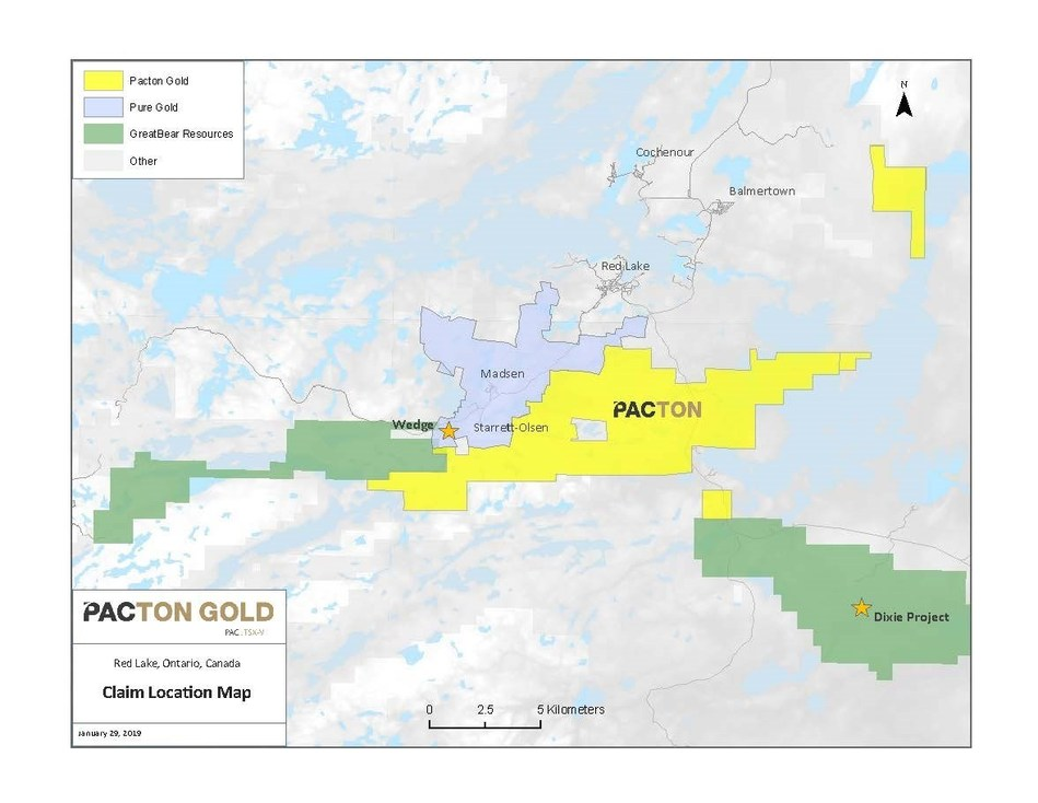 Figure 1. Location map of Pacton Claims in Red Lake, Ontario (CNW Group/Pacton Gold Inc.)