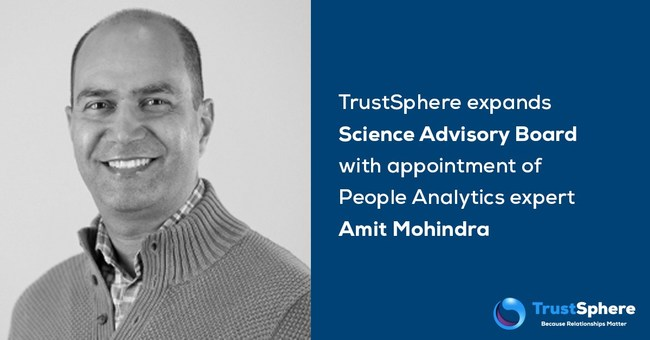 TrustSphere expands Science Advisory Board with appointment of People Analytics expert Amit Mohindra