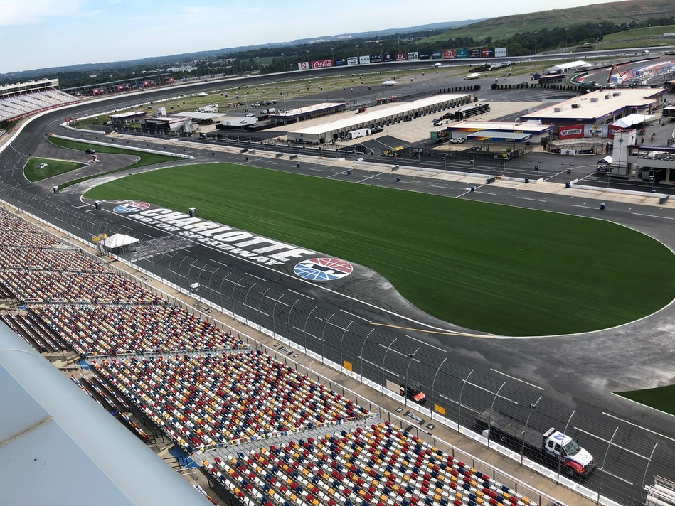 GreenFields USA's construction partner, FIELDS, has completed an installation of its premium woven turf product, IRONTURF, at Charlotte Motor Speedway. The new turf covers close to 90,000 square feet on the frontstretch of the speedway's infield, at the exit of Oval Turn 4 as a part of Charlotte Motor Speedway's ROVAL™ course.