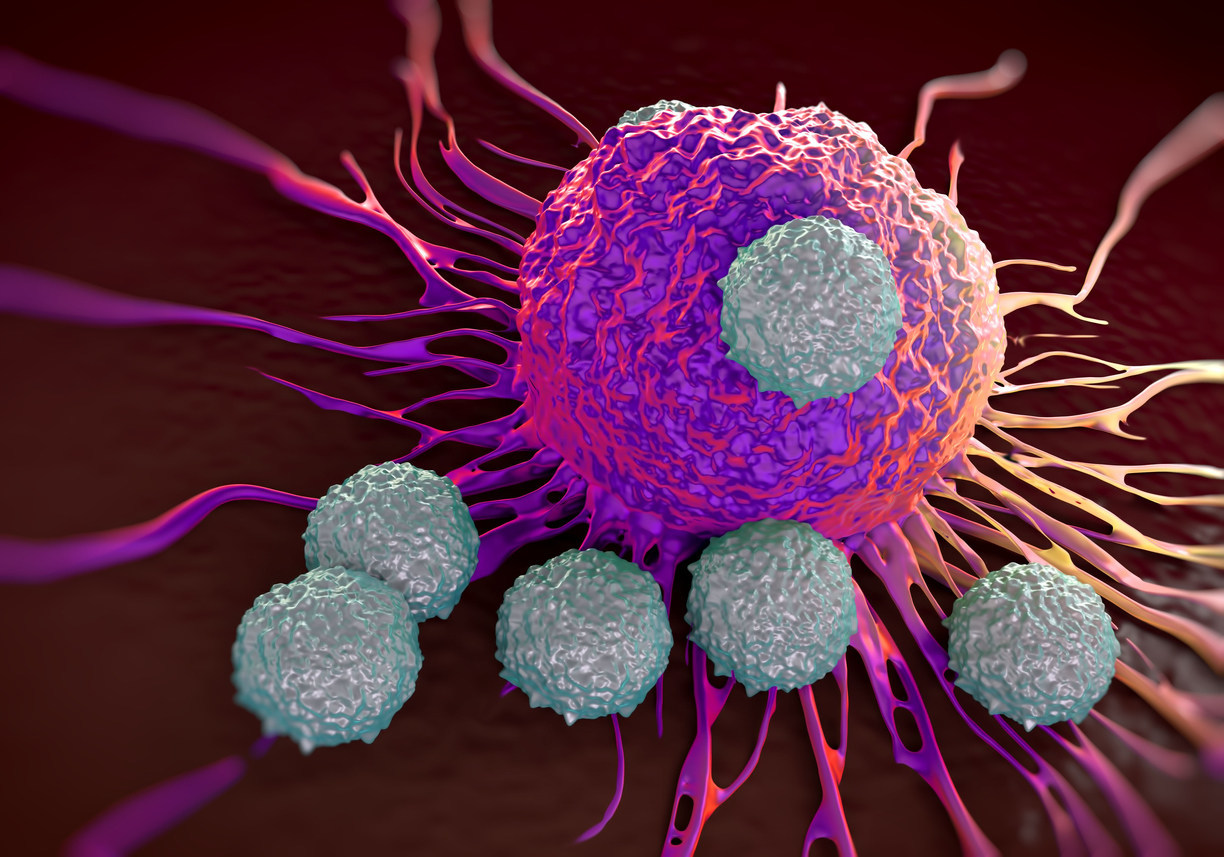 Illustration of T cells attacking cancer cell