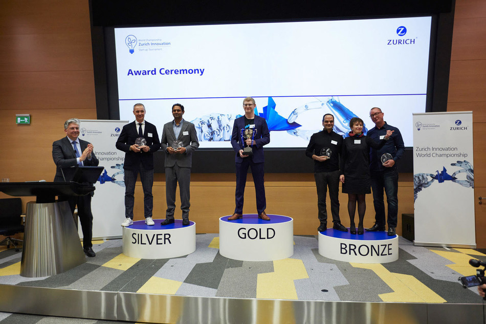 Attila Toth, Founder & CEO second from left, and Kumar Dhuvur, Founder & Head of Product third from left, honored during the awards ceremony at Zurich Development Center in Switzerland.