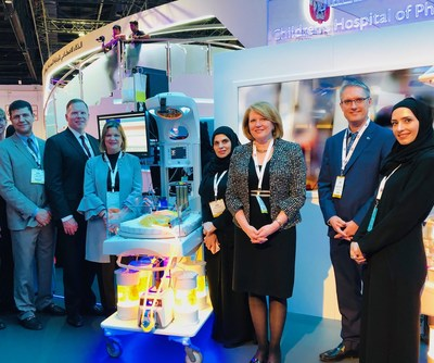 Children's Hospital of Philadelphia CEO and President Madeline Bell (third from right) showcases innovations at the Ministry of Health and Prevention Booth (MOHAP), at Arab Health in Dubai, the United Arab Emirates, January 31, 2019.