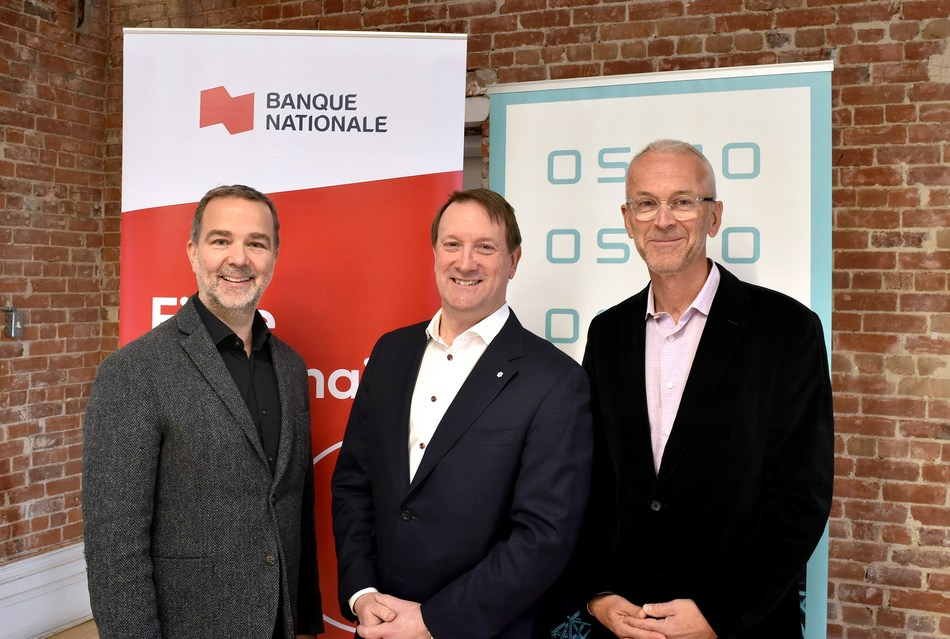 From left to right: Patrick Gagné, CEO of OSMO, Louis Vachon, President and Chief Executive Officer of National Bank and Alan MacIntosh, Chairman of OSMO's Board of Directors. (CNW Group/Fondation OSMO)