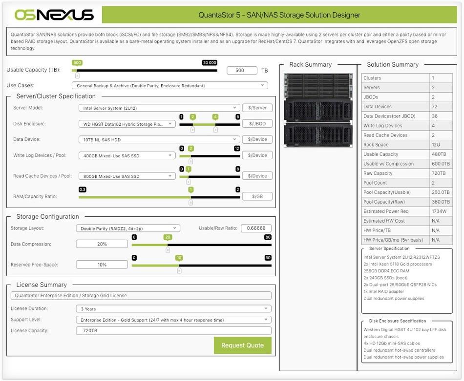 SAN/NAS Solution Design web app for QuantaStor configurations.