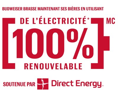 Budweiser Canada brasse maintenant ses bières en utilisant de l'électricité 100 % renouvelable soutenue par Direct Energy (Groupe CNW/Budweiser Canada)