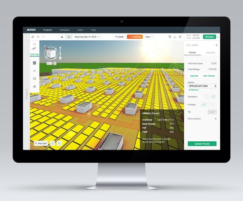 A commercial solar project designed in Aurora's solar design and sales software.