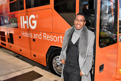 ATLANTA, GEORGIA - JANUARY 31:  Nick Cannon and IHG Hotels & Resorts welcome fans with Home Team Hospitality at Crowne Plaza Midtown Hotel on January 31, 2019 in Atlanta, Georgia. (Photo by Paras Griffin/Getty Images for IHG)