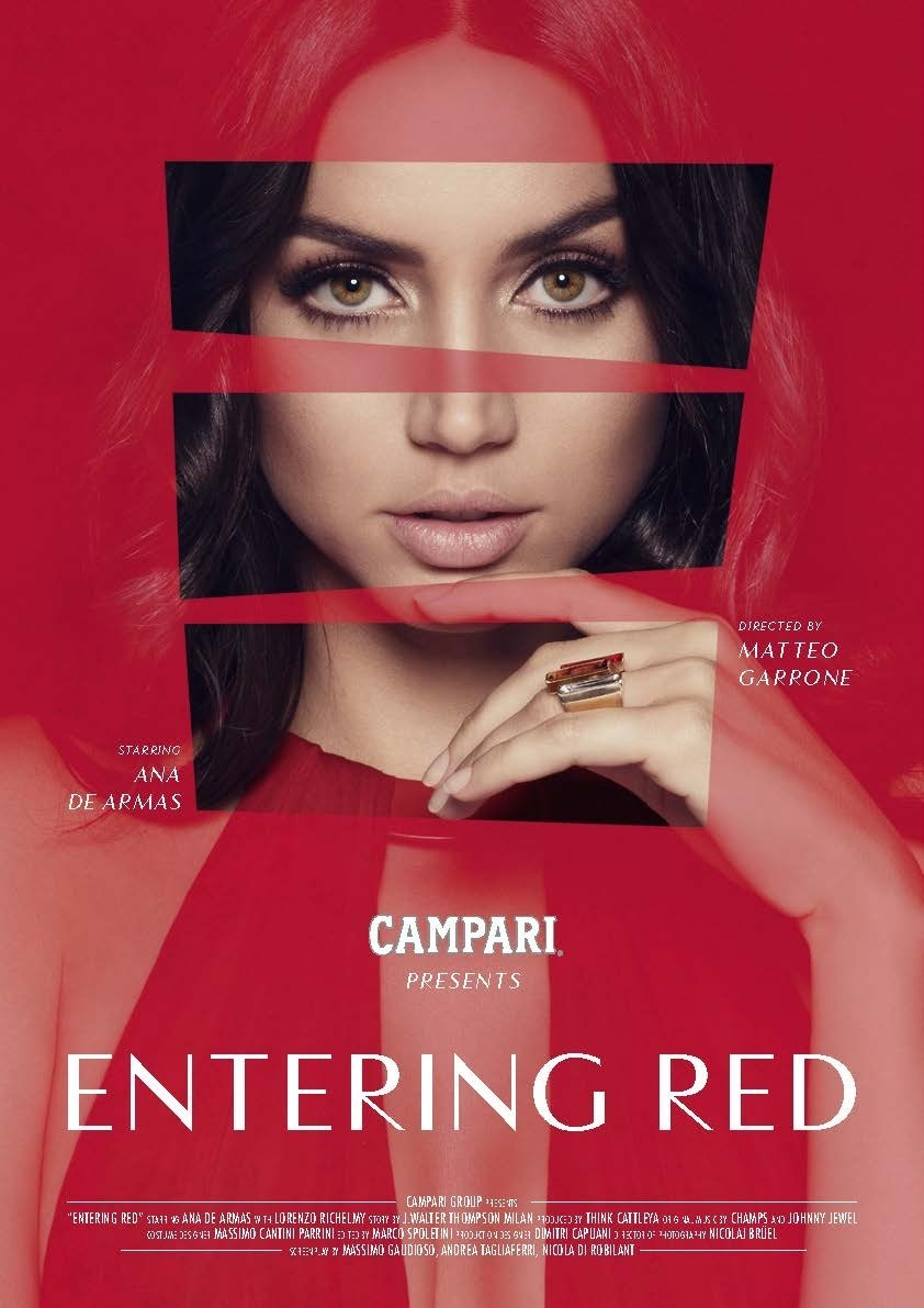 Ana De Armas stars in Campari Red Diaries 2019, Entering Red, a short movie directed by Matteo Garrone celebrating the Negroni cocktail (PRNewsfoto/Campari)