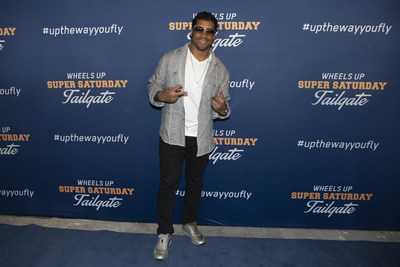 Russell Wilson at the Wheels Up Super Saturday Tailgate on February 2, 2019 in Atlanta, Georgia