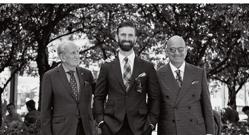 Harry Rosen (founder), Ian Rosen (Vice President of Digital and Strategy), and Larry Rosen (Chairman and CEO). Three generations and their associates from across the country celebrate the 65th anniversary of the company. (CNW Group/Harry Rosen Inc.)