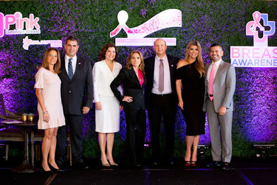 Fernanda Schwyter; Dr. Luis Fernando Correia, Dr. Giselle B. Ghurani; Marylin Dans, Dr. Jose Lutzky, Ana Quincoces, Dr. Moises Irizarry announce the launch of international philanthropic efforts in honor of World Cancer Day.