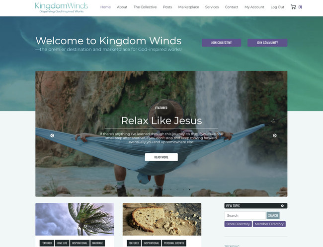 KingdomWinds.com is a newly launched multimedia website featuring the works of a talented group of established and emerging Christian creatives and ministries.