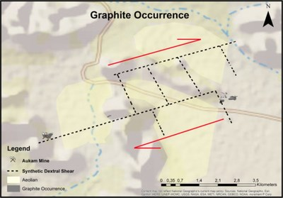 The following map displays the Synthetic Dextral Shear and the Graphite Occurrence at the Aukam Mine. (CNW Group/Gratomic)
