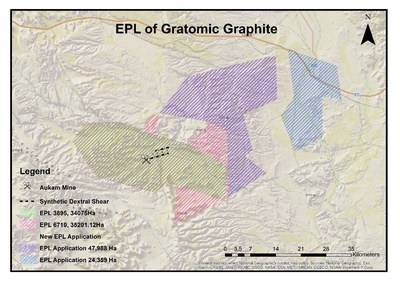 The following map displays the current Aukam Mine as well as locations of the new EPL Applications. (CNW Group/Gratomic)