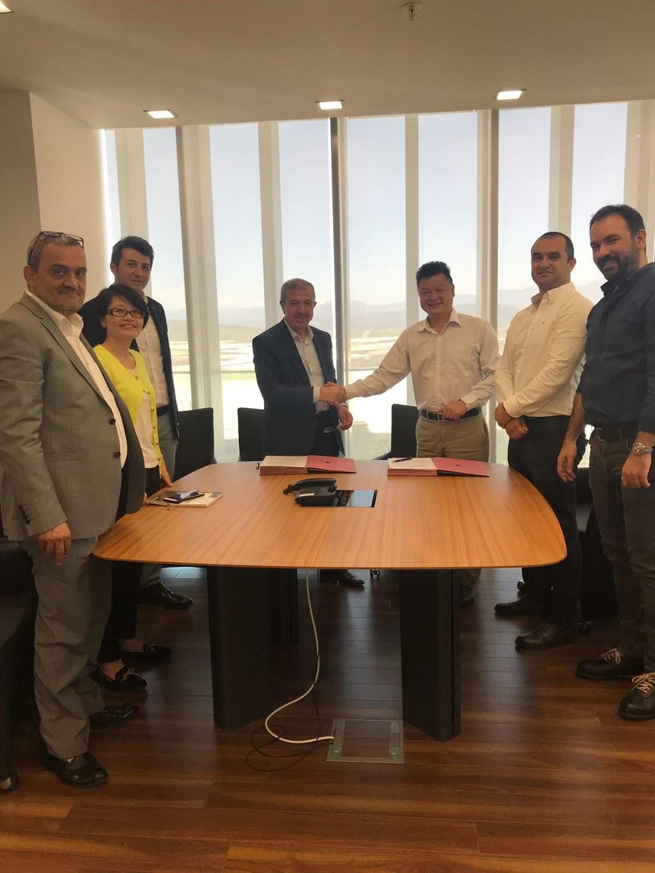 Left to right: YILDIRIM GUNES, Purchasing Manager-KIPAS; CHEN BI MEI, Senior Product Manager-UNIFI-UTSC; HALIT GUMUSER, Managing Director-KIPAS; HALIL IBRAHIM GUMUSER, Vice President-KIPAS; HONGJUN NING, President-UNIFI ASIA PACIFIC; OZGUR ATSAN, Market Development Manager-UNIFI-UTSC; OZGUR ALPER GULER, Yarn Marketing & Sales Group Manager-KIPAS