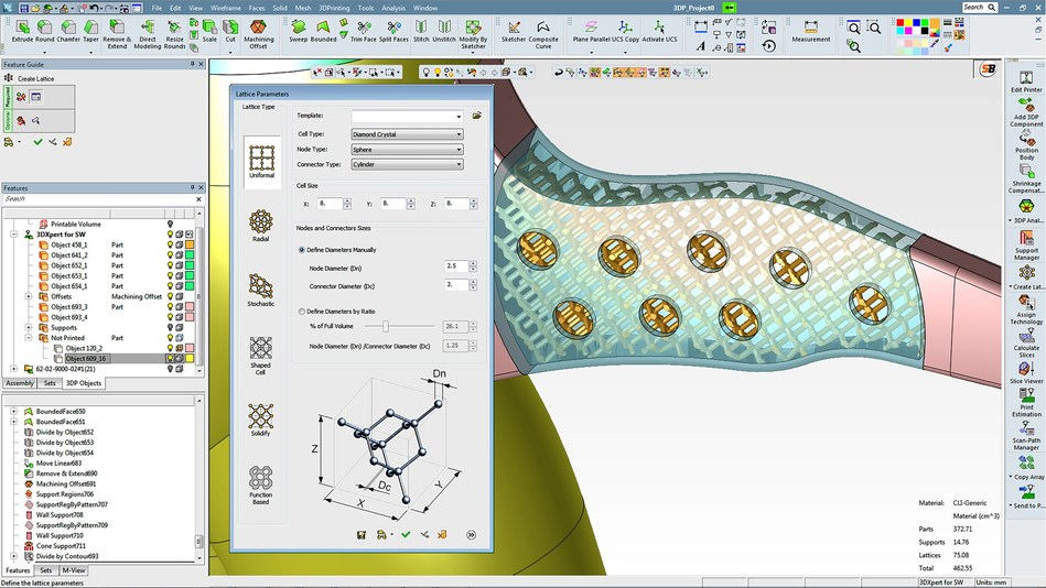 3DXpert for SOLIDWORKS enables lightning-fast creation, viewing and editing of lattice and infill structures to minimize part weight and material usage.