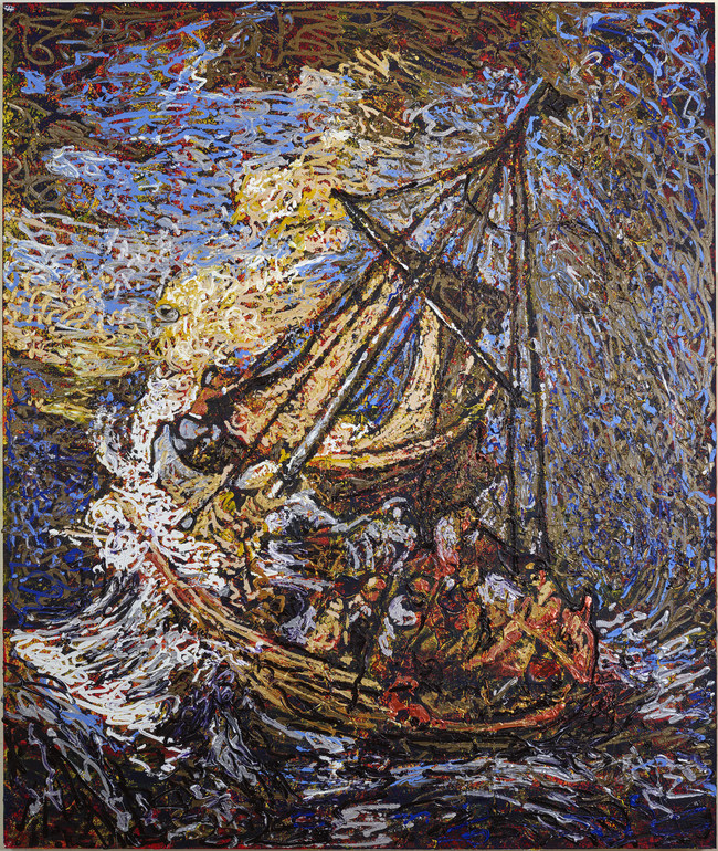 "Boston artist Giovanni DeCunto's interpretation of Rembrandt's only seascape ""The Storm on the Sea of Galilee."" This piece is just one of the thirteen works of art in his new collection ""13,"" inspired by the world's largest unsolved art heist at the Isabella Stewart Gardner Museum. The collection is being unveiled privately on February 26 and open for public viewing from March 1-17.  For more information about the ""13"" collection, please visit www.theStolen13.com."