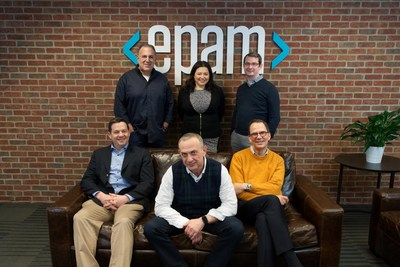 From left to right: (sitting) Scott Nissenbaum, BFTP Chief Investment Officer; Arkadiy Dobkin, EPAM CEO & President; Jason Peterson, EPAM CFO & Treasurer; (standing) Larry Solomon, EPAM CPO; Elaina Shekhter, EPAM CMO & Head of Strategy; Jonathon Beschen, BFTP Manager, Technology Commercialization