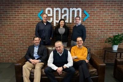 From left to right: (sitting) Scott Nissenbaum, BFTP Chief Investment Officer; Arkadiy Dobkin, EPAM CEO & President; Jason Peterson, EPAM CFO & Treasurer; (standing) Larry Solomon, EPAM CPO; Elaina Shekhter, EPAM CMO & Head of Strategy; Jonathon Beschen, BFTP Manager, Technology Commercialization