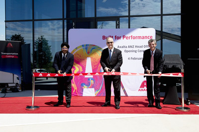 Official Ribbon Cutting on the new Axalta facility in Western Sydney.  L-R: Sobers Sethi -  Vice President and President Emerging Markets, Robert Bryant – CEO and Steven Brett - Managing Director, Australia and New Zealand.