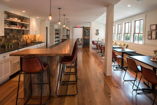 Pickering House Inn Gathering Kitchen | Heart Pine Floors | Carlisle Wide Plank Floors