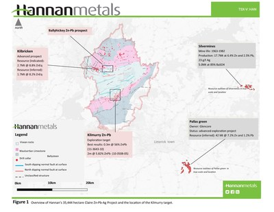 Figure 1 - Overview of Hannan's 35,444 hectare Claire Zn-Pb-Ag Project and the location of the Kilmurry target. (CNW Group/Hannan Metals Ltd.)