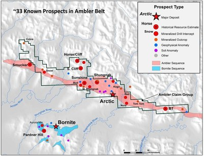 Figure 2. Location of Prospects within the Ambler VMS Belt (CNW Group/Trilogy Metals Inc.)