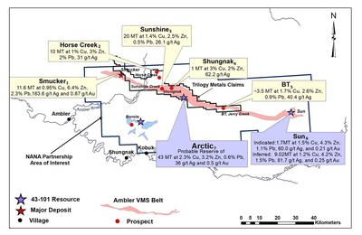 Figure 1. Location of Historic Resources at the Ambler VMS Belt (CNW Group/Trilogy Metals Inc.)