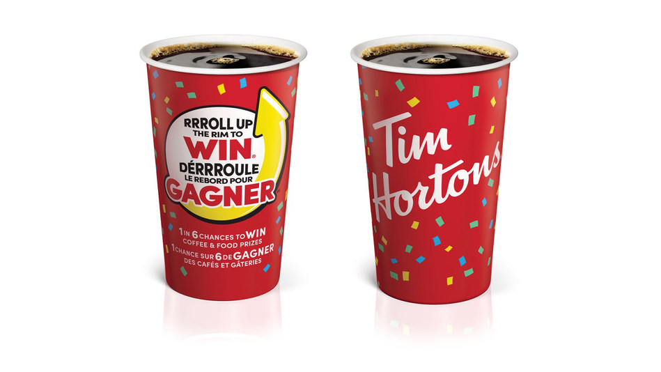 Tim Hortons® Roll Up The Rim To Win® is back with new cups featuring prizes surrounded by colourful confetti. (CNW Group/Tim Hortons)