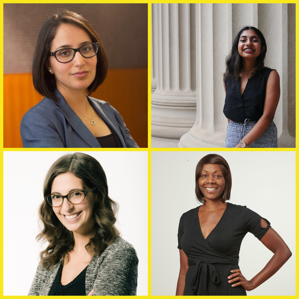 Spotlight on Women in Science guest speakers (L-R): Azadeh Kushki, Mathurah Ravigulan, Rima Brek and Tutu Joy Ilelaboye (CNW Group/Ontario Science Centre)