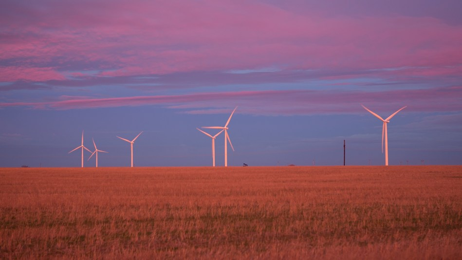 Photo of the 51 MW Alexander wind farm in Kansas, featuring 2.3 MW Siemens turbines and one of the four projects acquired by Skyline Renewables from the NJR Clean Energy Ventures Corporation portfolio.