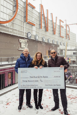 $5,000 Check Donation to Food Bank of the Rockies from Denver Pavilions' Holiday Carousel.