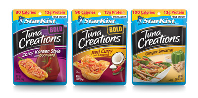 StarKist Tuna Creations® BOLD Spicy Korean Style with Gochujang, Tuna Creations® BOLD Red Curry with Coconut & Tuna Creations® Ginger Sesame
