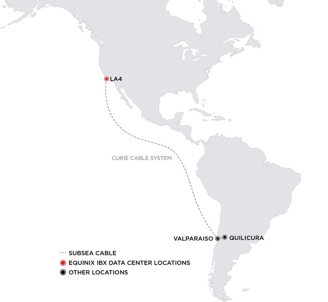 Curie Subsea Cable Route from Equinix LA4 International Business Exchange in Los Angeles to Chile