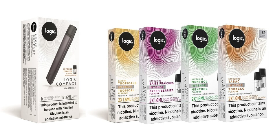 Packaging of Logic Compact starter kit and e-liquid refill pods. (CNW Group/JTI Canada Tech Inc.)