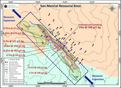Figure 1  Location Breccia and Stockwork Zone in the San Marcial Resource Area (CNW Group/Goldplay Exploration Ltd)