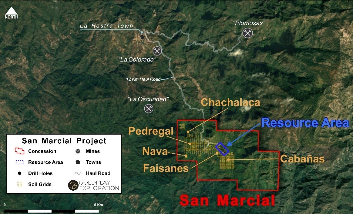 Figure 2 San Marcial - Location of Resource Area and New Targets Inside Concession (CNW Group/Goldplay Exploration Ltd)