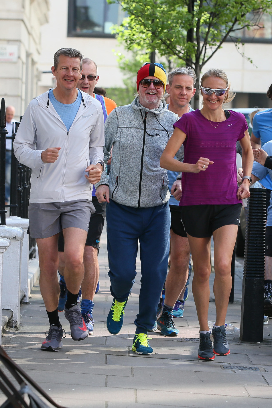 Chris Evans and some of his RunFestRun ambassadors, Steve Cram and Paula Radcliffe