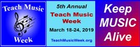 5th Annual Teach Music Week - Monday March 18th to Sunday March 24th - Take this opportunity to start your childs (or your own) musical journey. No one ever regrets having learned to play an instrument.