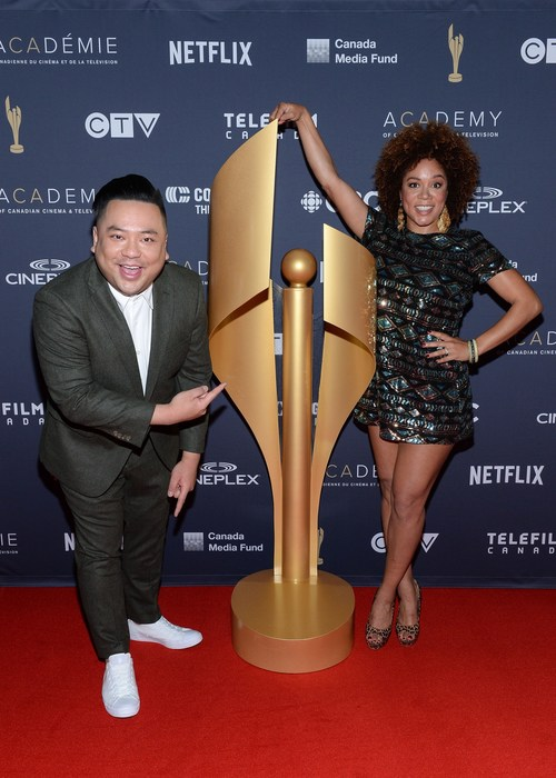 """The Academy of Canadian Cinema & Television today announced the nominees for the 2019 Canadian Screen Awards. The event, held at The Globe and Mail Centre in downtown Toronto, was hosted by award-winning comedian Andrew Phung of CBC's """"Kim's Convenience"""" and Canadian Screen Award-nominated comedian Aisha Alfa of CTV's """"The Beaverton"""". Photo credit: George Pimentel Photography (CNW Group/Academy of Canadian Cinema & Television)"""