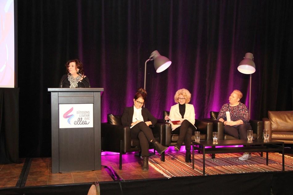 De gauche à droite, Diane Lemieux, Audrey Murray, Sophie Brière et Geneviève Collette. (Groupe CNW/SEMO Le Jalon)