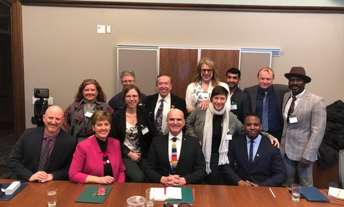 From left: Members of the Dignity Network with Marie-Claude Bibeau, Minister of International Development, and Randy Boissonnault, Member of Parliament for Edmonton Centre and Special Advisor to Prime Minister Justin Trudeau on LGBTQ2 issues, following the announcement of $30 million over five years, followed by $10 million per year, for dedicated funding of LGBTQI civil society. (CNW Group/Rainbow Railroad)